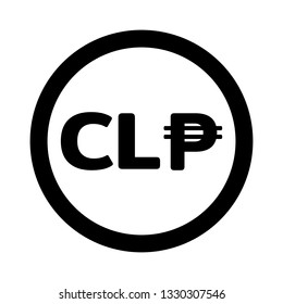 Currency flat icon symbols coin in black circle and white background : Chile's Chilean peso CLP vector illustration in black and white.