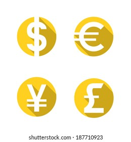 Currency flat icons