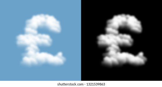 Currency GBP (Pound Sterling) sign and symbol Cloud or smoke pattern, Business finance concept illustration isolated float on blue sky background with opacity mask, vector eps 10