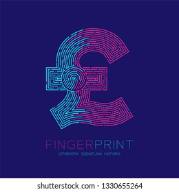 Currency GBP (Pound Sterling) sign Fingerprint scan pattern logo dash line, digital cryptocurrency concept, Editable stroke illustration isolated on blue background with Fingerprint text, vector eps