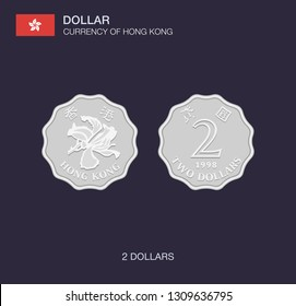 Currency of Hong Kong. Flat vector illustration of two dollars.