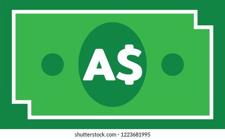 Currency icon Banknote : Australian Dollar bill AUD vector illustration sign symbols.