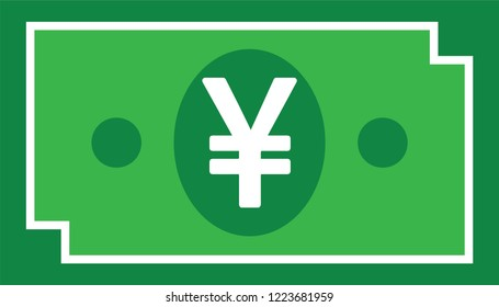 Currency icon Banknote : Japanese Yen  bill Jpy vector illustration sign symbols.