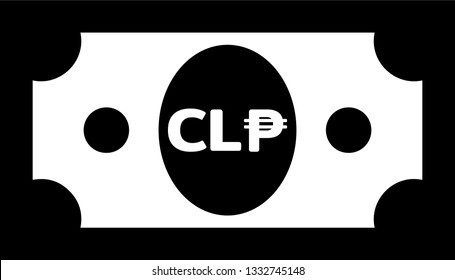 Currency icon Banknote sign in black and white and circles : Chile's Chilean peso CLP bill vector illustration