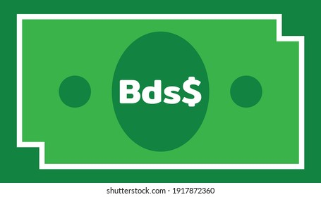 Currency icon Banknote sign in green and white frame : Barbados's Barbadian dollar Bds$ code BBD bill vector illustration