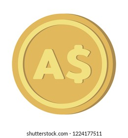 Currency icon coin : Australian Dollar  AUD vector illustration sign symbols.