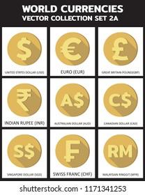 Currency icon illustration vector : SET 2a, symbols, signs, emblems Vector illustration design, art.