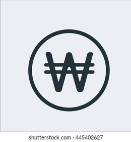 Currency icon, Korean won,  sign icon