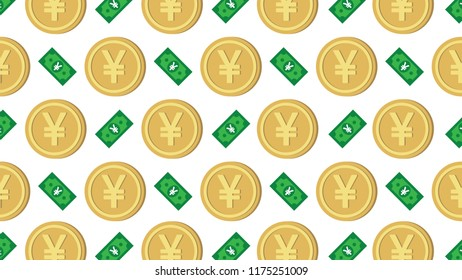 Currency icon pattern background coin and banknote : Japanese Yen JPY bill, symbols, signs, emblems, wallpaper, Vector illustration wallpaper.