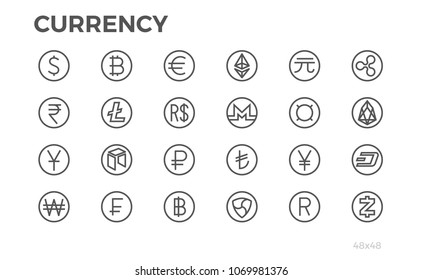 Currency Icons. Dollar, Bitcoin, Euro and other symbols. Editable stroke. 48x48. Pixel perfect.