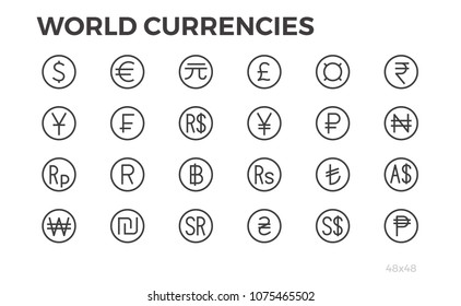 Currency Icons. Dollar, Euro, Yuan and other symbols. Editable stroke. 48x48.