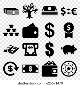 Currency icons set. set of 16 currency filled icons such as pig, Coin, Casino chip, ATM money withdraw, dollar, wallet, money, dollar award