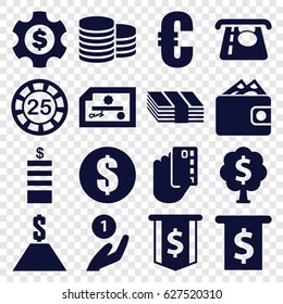 Currency icons set. set of 16 currency filled icons such as Coin, 25 casino chip, ATM money withdraw, money tree, dollar, dollar gear, wallet, euro, coin on hand