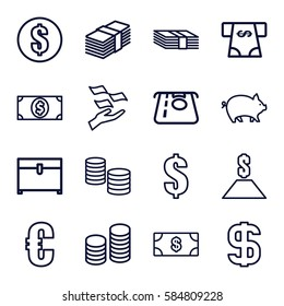 currency icons set. Set of 16 currency outline icons such as pig, Money, ATM money withdraw, chest, dollar, coin