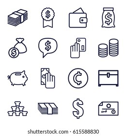 Currency icons set. set of 16 currency outline icons such as wallet, chest, dollar, coin, money box, cash payment, creadit card payment, money, dollar sign in cloud, check