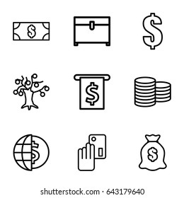 Currency icons set. set of 9 currency outline icons such as coin, chest, dollar, money sack, money, creadit card payment
