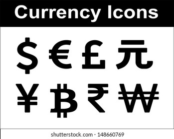 Currency icons set. Black over white background. Vector flat design