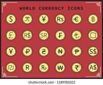 Currency Icons.Dollar,Euro,Yuan,Baht and other symbols.vector illustration