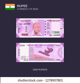 Currency of India. Flat vector illustration of indian two thousand rupees.