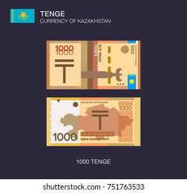 Currency of Kazakhstan. Flat vector illustration of Kazakh one thousand tenge.