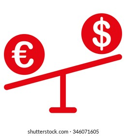 Currency Market vector icon. Style is flat symbol, red color, rounded angles, white background.