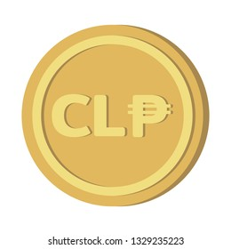 Currency money symbols icon : Chile's Chilean peso CLP Gold coin vector illustration