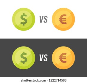 Currency pair of Euro vs Dollar vector illustration on white and black background.