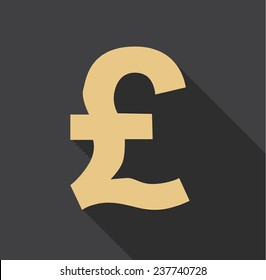 Currency pound flat icon with long shadow on background