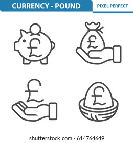 Currency - Pound Icons. Professional, pixel perfect icons optimized for both large and small resolutions. EPS 8 format. 5x size for preview.