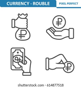 Currency - Rouble Icons. Professional, pixel perfect icons optimized for both large and small resolutions. EPS 8 format. 5x size for preview.