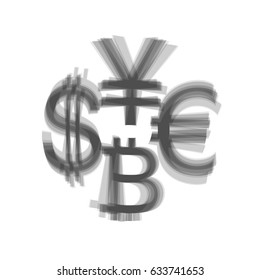 Currency sign collection dollar, euro, bitcoin, yen. Vector. Gray icon shaked at white background.