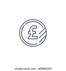 Currency signs, money exchange, pound coins, vector mono line icons