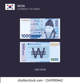 Currency of South Korea. Flat vector illustration of korean one thousand won.