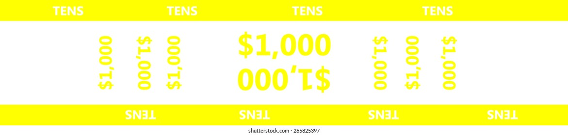 Currency strap make it easy to organize your bills of $10 (ten dollar). Paper money wrapping strap for United States ten-dollar bill ($10) with 1000 (one thousand) dollar capacity. Vector - eps 10