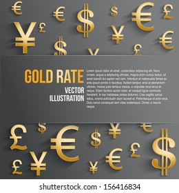Currency symbol in gold color with space for text. Background about the money and the exchange rate. Business vector Illustration, isolated and editable.