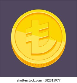Currency symbol, Turkish lira symbol on gold coin, money sign vector illustration