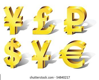 Currency Symbols: dollar, euro, pound, ruble, yuan, yen. Vector.