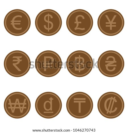 Currency Symbols Icons Simple Browncolored Wooden Stock Vector