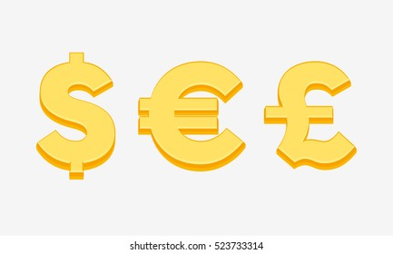 Currency symbols, signs of dollar, euro and pound sterling, money icon vector illustration on white background