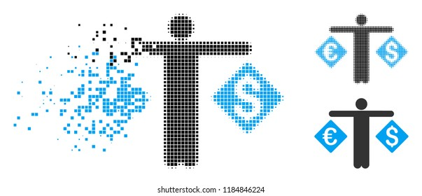 Currency trader icon in dispersed, dotted halftone and entire versions. Particles are organized into vector disappearing currency trader figure. Disappearing effect involves square scintillas.