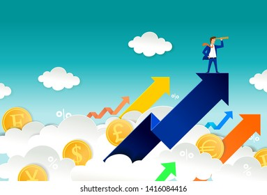 Currency trader looking through telescope while standing on up arrow. Vector paper cut illustration. Stock exchange market, investment and trading concept for web banner, website page etc.
