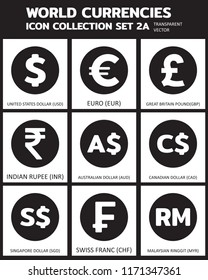 Currency vector Icon Set : 2A Transparent icon, coin, symbols, signs, emblems Vector illustration.