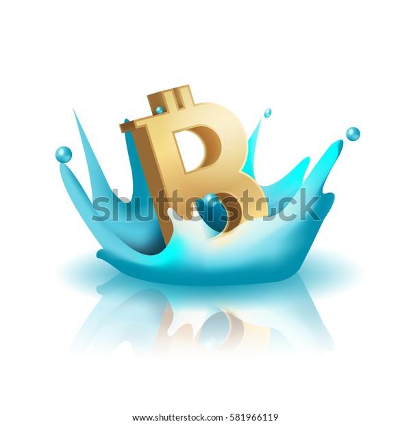 Currency Water Splash Gold Bath Vector