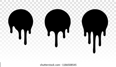 Current drops. Current inks. Paint dripping. Current paint, stains. Dripping liquid. Paint flows. Vector illustration. Color easy to edit. Transparent background.