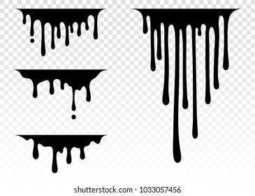Current paint, stains. Current drops. Current inks. Paint dripping. Dripping liquid. Paint flows. Vector illustration. Color easy to edit. Transparent background.