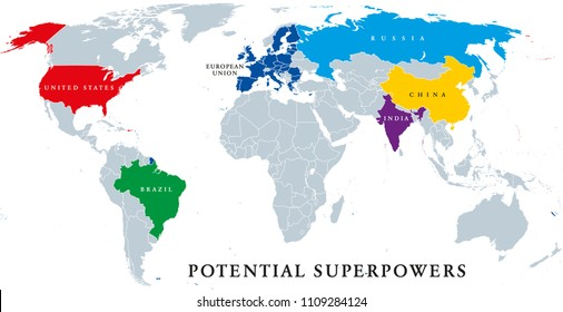 Current and potential Superpowers, political map. Current superpower United States and the potential superpowers Brazil, China, European Union, India and Russia. English labeling. Illustration. Vector