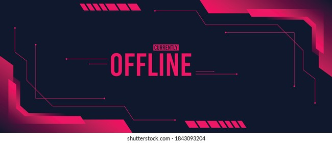 Currently offline twitch banner with abstract shapes