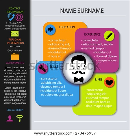 curriculum vitae creative template cv resume stock vector royalty