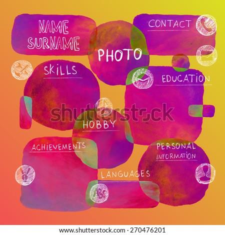 Curriculum Vitae Creative Template Watercolor Background Stock