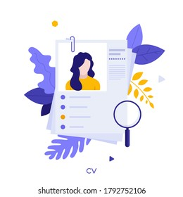 Curriculum vitae or CV and magnifying glass. Concept of professional staff recruitment, job application, hiring personnel, selection of candidates, employment. Modern flat vector illustration.